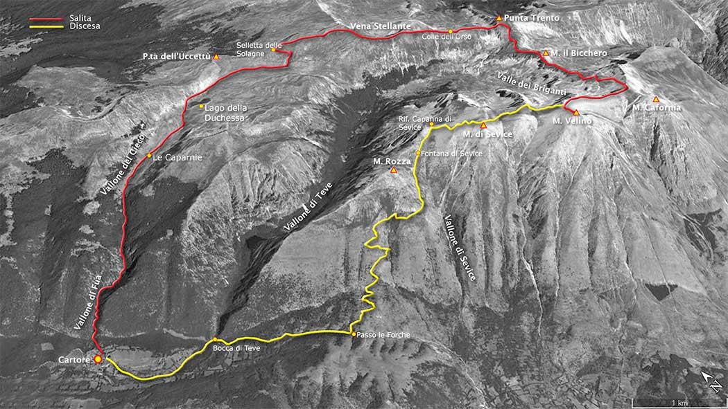 tracciato escursionismo, da cartore per il lago della duchessa, discesa per la capanna di Sevice - monte velino